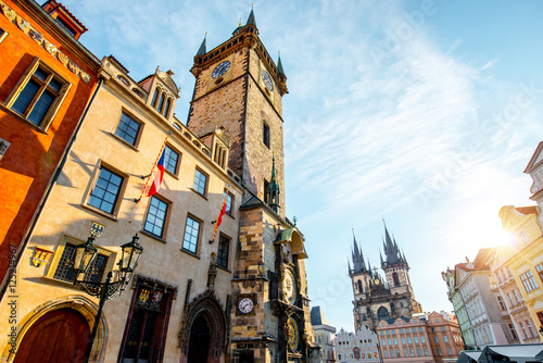 Poster Prague Cityscape view on the clock tower and Tyn cathedral during the sunrise in the old town of Prague