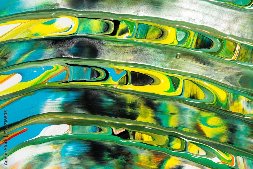 Photo & Art Print Bunte Malerei/ Gemälde aus Streifen in Grün, Gelb ...