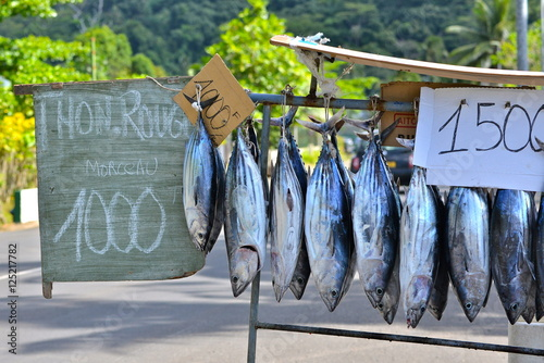 Fotografering Fishes sold on the road, market stall, Polynesia