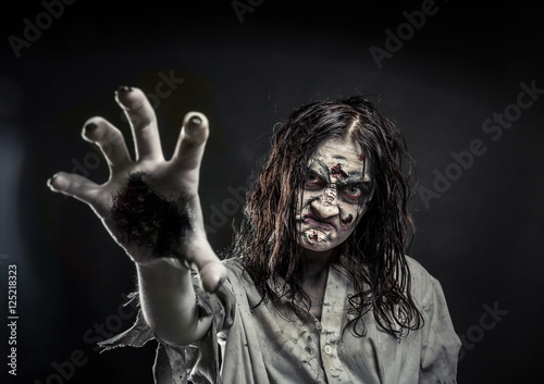 Zombie woman with bloody face Canvas Print