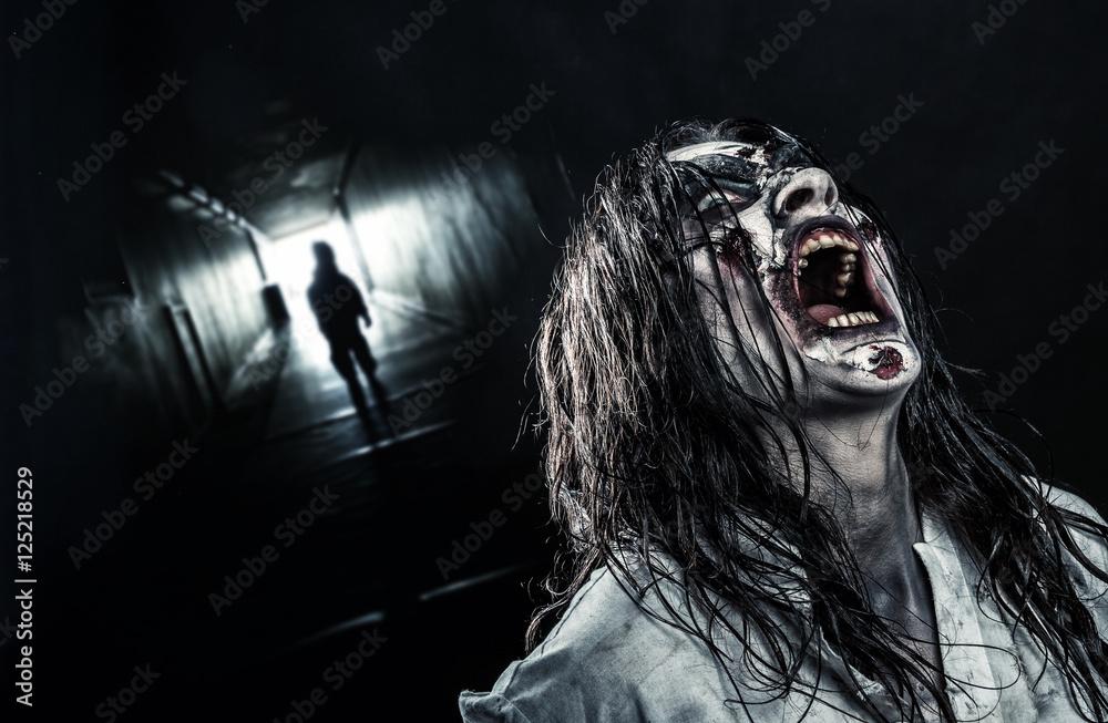 Photo  The shouting female zombie