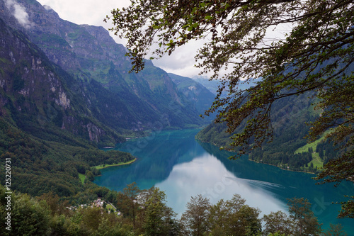 Wall Murals New Zealand The lake Klöntalersee in Swiss Alps as seen from Schwammhöhe