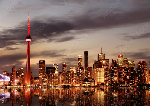 Spoed Foto op Canvas Toronto Toronto Skyline at sunset, Ontario, Canada