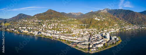 Panoramic Aerial view of Montreux waterfront, Switzerland Wallpaper Mural