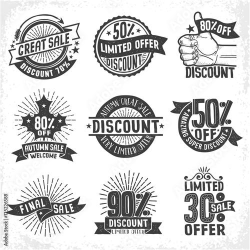Photo sur Toile Papillons dans Grunge Discounts seasonal sales logos, labels, badges. Limited Offer. Vintage retro vector monochrome illustration. Grunge texture on a separate layer.