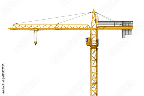 Fotografie, Obraz  Rendering of yellow construction crane isolated on white background