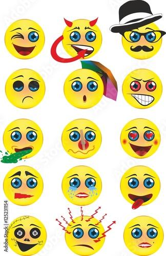 Complete flat emoji 3d Tablou Canvas