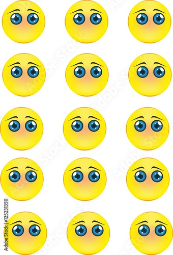 A complete set of blank emoticons Tablou Canvas