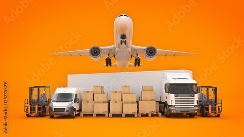 Fotografia, Obraz  world wide cargo transport concept. 3d rendering