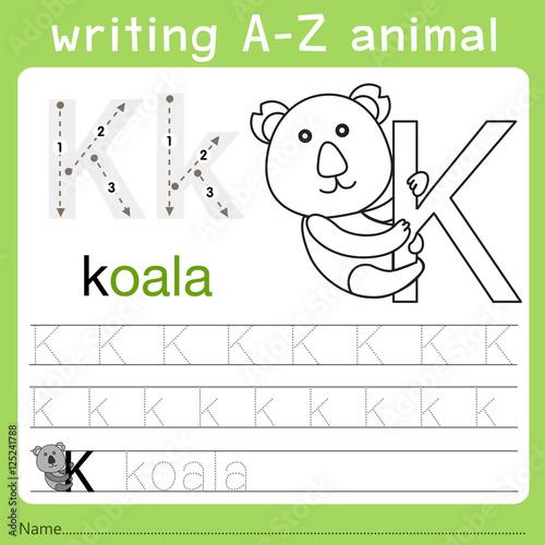 Fotobehang Cartoon draw Illustrator of writing a-z animal k