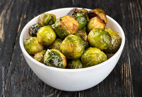 Foto op Canvas Brussel Fried brussels sprouts in bowl