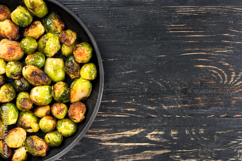 Door stickers Brussels Fried brussels sprouts in a pan