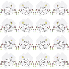 Pattern Seamless Background Cute Cats Flowers