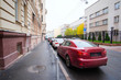 Moscow, Russia - October, 7, 2016: cars on a parking in a center of Moscow, Russia