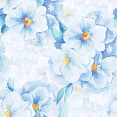 FototapetaDelicate flowers. Seamless floral pattern. Watercolor background 1