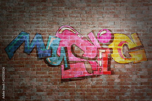Foto auf AluDibond Graffiti Colorful word MUSIC on brick wall background. Graffiti style