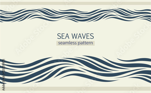 Wall Murals Abstract wave Seamless patterns with stylized waves