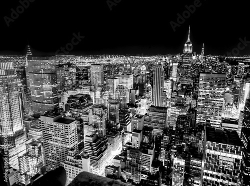 New York Skyline In The Night Black And White Wall Mural