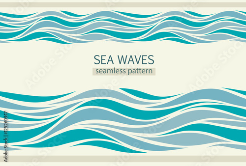 Spoed Foto op Canvas Abstract wave Seamless patterns with stylized waves