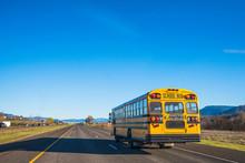 Yellow School Bus Running On T...