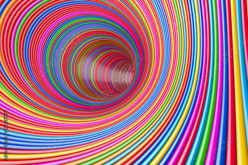 Photo  Hypnotic Psychedelic Multicolour Circles Tunnel. 3d Rendering