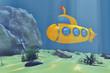 Ocean Underwater World with Cartoon Styled Submarine. 3d Renderi