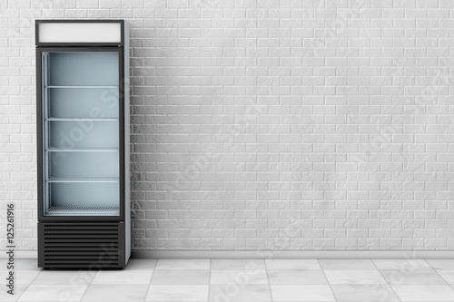 Fridge Drink with Glass Door. 3d Rendering