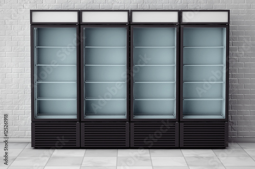 Fridges Drink with Glass Door. 3d Rendering