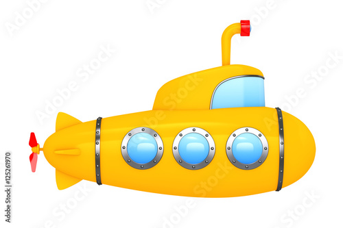 Photo  Toy Cartoon Styled Submarine. 3d Rendering