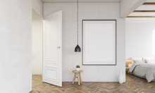 Bedroom Interior With Open Door And Lamp