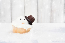 Funny Melting Snowman Cupcake
