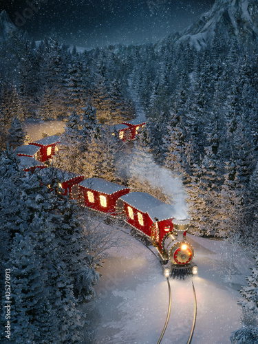Amazing cute christmas train Fototapeta