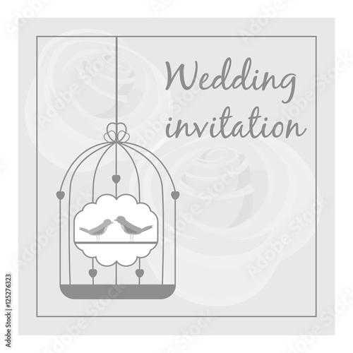 Deurstickers Vogels in kooien Wedding invitation card icon. Gray monochrome illustration of wedding invitation card vector icon for web