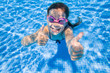 Leinwanddruck Bild girl in swimming pool