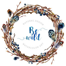 Watercolor Boho Wreath Made Of Twigs And Feathers.