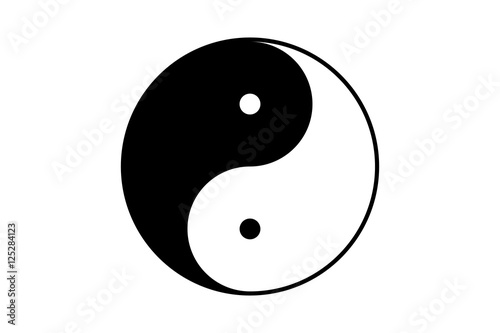 Black and white jin jang symbol with bold border Canvas Print