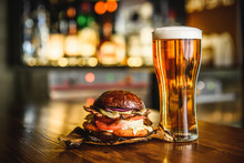 Hamburger And Light Beer On A ...