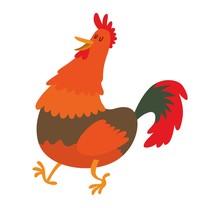 Cute Cartoon Rooster Vector Illustration