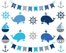 Nautical Boy Set In Blue And Grey - Boats, Whales