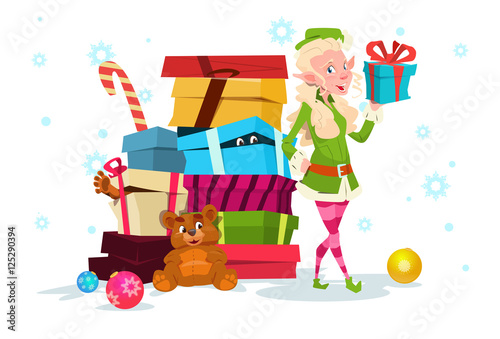 Poster Castle Christmas Elf Girl Cartoon Character Santa Helper With Present Box Flat Vector Illustration