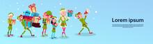 Christmas Elf Group Cartoon Ch...