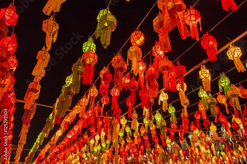 Fotografie, Obraz  Colorful Lamp and lantern in Loi Krathong Wat Phra That Haripunc
