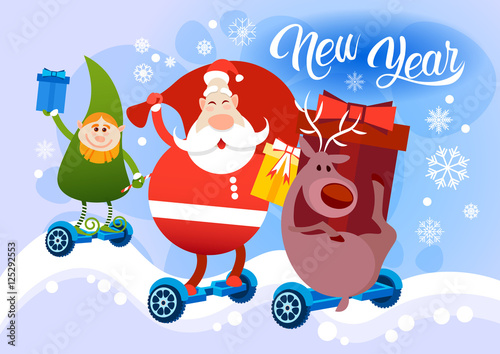 Papiers peints Chambre bébé Reindeer Santa Claus Elf Ride Electric Hover Board Happy New Year Holiday Merry Christmas Flat Vector Illustration