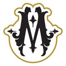 Elegant Floral Monogram Design Template With Letter M . Wedding Monogram. Business Sign, Monogram Identity For Restaurant, Boutique, Hotel, Heraldic, Jewelry.