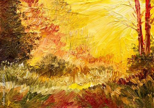 Plakat malarstwo olejne, kolorowe pole, sztuka impresjonizmu