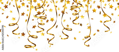 Obraz Stern Konfetti Gold mit goldenen Luftschlangen  - fototapety do salonu