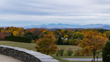 View Of Fall Foliage And Adirondack  Mountains In New York  From Overlook Park In South Burlington, Vermont