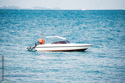 Motor boat on sea