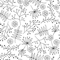 Panel Szklany Minimalistyczny Hand Drawn vintage floral pattern. Vector. Isolated.Leaves, branches, floral elements. Wedding, birthday, Valentine's day.