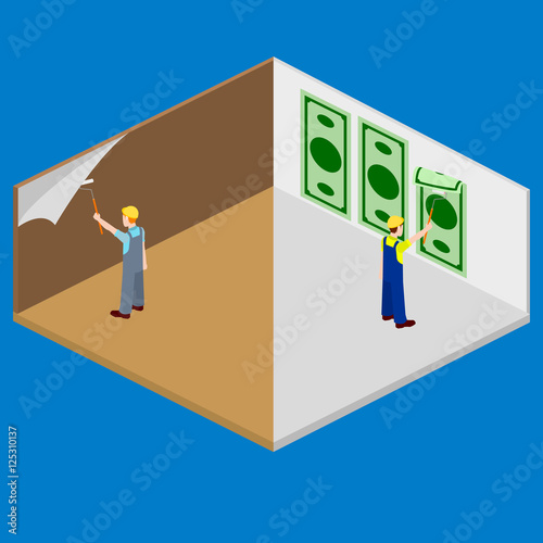 Fotografía  Wallpapering building construction vector isometric